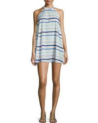 Vestido recto de rayas horizontales celeste de Kate Spade
