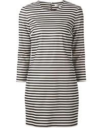 Vestido recto de rayas horizontales en blanco y negro