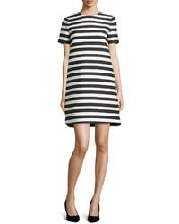 Vestido recto de rayas horizontales en blanco y negro de Kate Spade