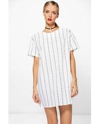 Vestido recto de rayas verticales blanco