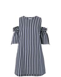 Vestido recto de rayas verticales en azul marino y blanco de P.A.R.O.S.H.