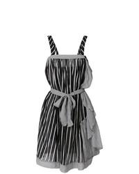 Vestido recto de rayas verticales en negro y blanco de Twin-Set
