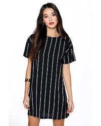 Vestido recto de rayas verticales negro