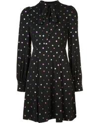 Vestido recto de seda a lunares negro de Marc Jacobs