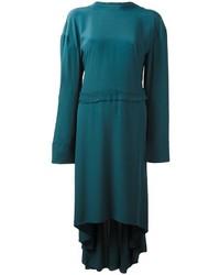 Vestido recto de seda en verde azulado de Cédric Charlier