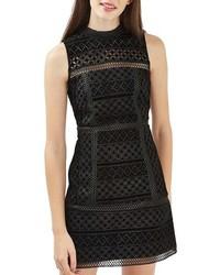 Vestido Recto de Terciopelo con Recorte Negro de Topshop