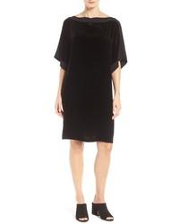 Vestido Recto de Terciopelo Negro de Eileen Fisher
