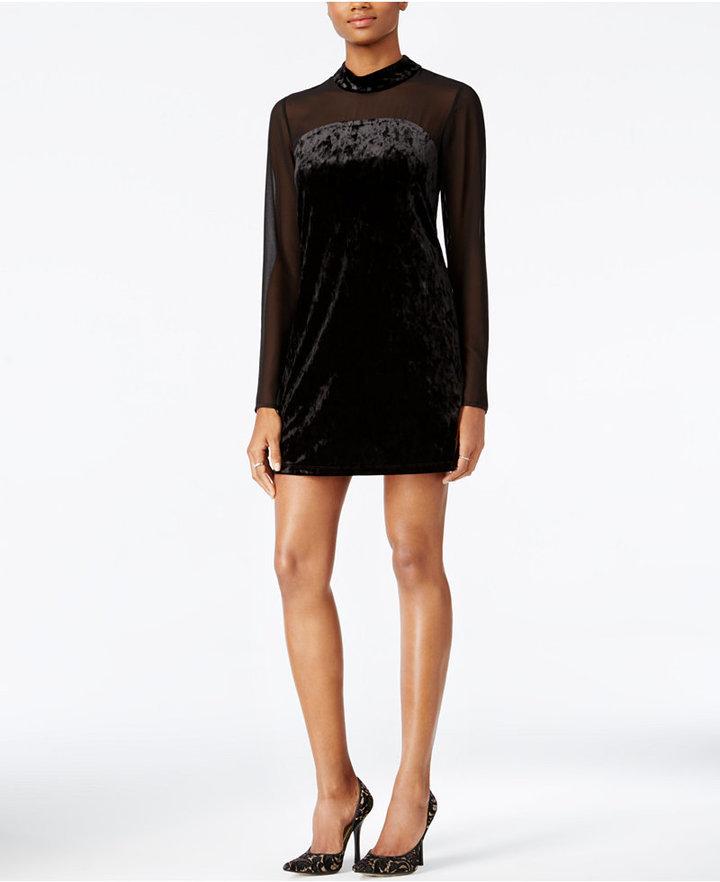 Vestido recto de terciopelo negro de BCBGeneration