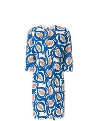 Vestido recto estampado azul de Marni