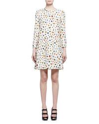 Vestido recto estampado blanco de Alexander McQueen