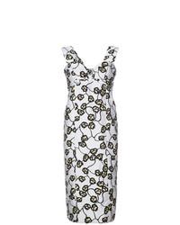 Vestido tubo con print de flores celeste de Marni