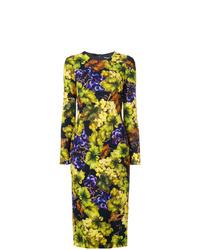 Vestido tubo con print de flores en multicolor de Dolce & Gabbana