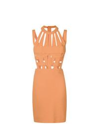 Vestido tubo con recorte naranja