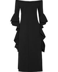 Vestido tubo con volante negro