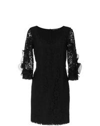 Vestido tubo de encaje bordado negro de Reinaldo Lourenço