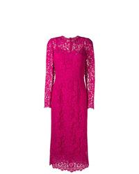 Vestido tubo de encaje rosa de Dolce & Gabbana