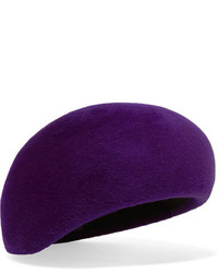Philip Treacy Velour Beret Purple