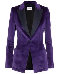 Pallas Satin Trimmed Cotton Velvet Blazer Purple
