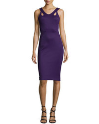 Zac Posen Sleeveless Body Con Jersey Dress Purple