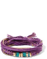 Aurelie Bidermann Aurlie Bidermann Takayama Cotton Gold Plated And Turquoise Wrap Bracelet Purple