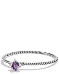 David Yurman Chatelaine Diamond Amethyst Cabled Bracelet