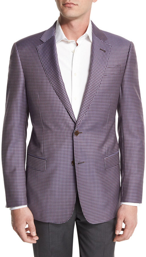 Armani Collezioni G Line Mini Check Sport Jacket Purple | Where to ...