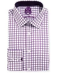 English Laundry Windowpane Check Textured Dress Shirt Purple