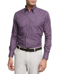 Peter Millar Autumn Check Cotton Sport Shirt Purple