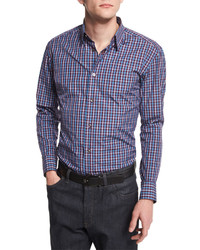 Brioni Check Long Sleeve Sport Shirt Burgundy
