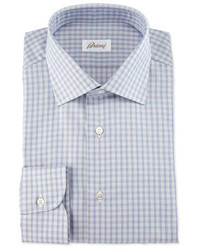 Brioni Shadow Check Long Sleeve Dress Shirt Burgundynavygray