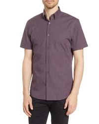 Nordstrom Men's Shop Trim Fit Check Short Sleeve Non Iron Button Up Shirt