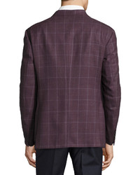 Armani Collezioni Windowpane Wool Two Button Sport Coat Pomegranate