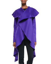 Rubin Singer Cashmere Double Faced Drape Coat Violet