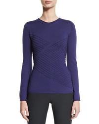 Armani Collezioni Long Sleeve Diagonal Popcorn Knit Sweater Imperial Purple