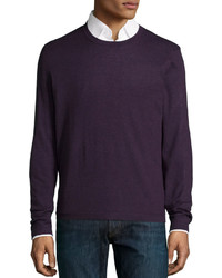 Superfine cashmere crewneck sweater dark purple medium 583250