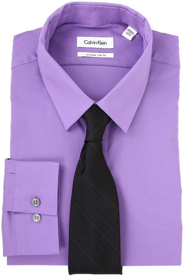 5bbc4d43e755 Calvin Klein Extreme Slim Fit Solid Dress Shirt, $65 | Zappos ...