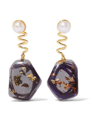 Ejing Zhang Tanguy Resin And Gold Plated Pearl Earrings