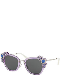 Miu Miu Monochromatic Embellished Square Sunglasses