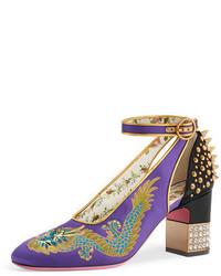 Gucci Caspar Embroidered Satin Ankle Wrap Pump