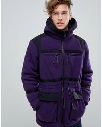 ASOS DESIGN Fleece Parka In Purple