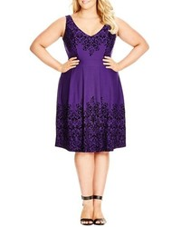 Violet Fit and Flare Dress