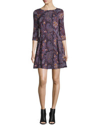 Suno 34 Sleeve Paisley Fit And Flare Dress Wine