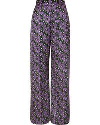 Lela Rose Floral Print Satin Twill Wide Leg Pants