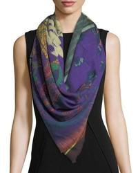 Etro Floral Stripe Wool Silk Scarf