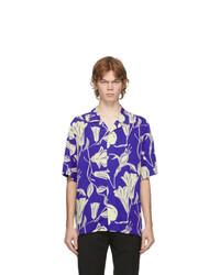 Paul Smith Blue Floral Cutout Short Sleeve Shirt