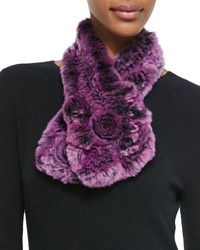 Belle fare rex rabbit fur knit scarf purple medium 166529