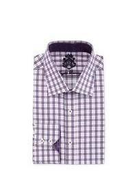 English Laundry Plaid Poplin Dress Shirt Purple