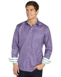 Robert Graham Purple Gingham Check Cotton Button Front Shirt