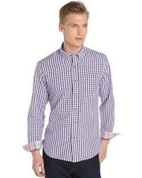 Tailor Vintage Purple Gingham Long Sleeve Cotton Shirt