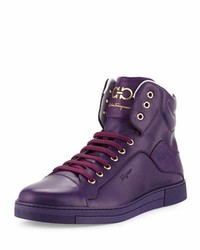 Salvatore Ferragamo Calfskin High Top Sneaker Purple